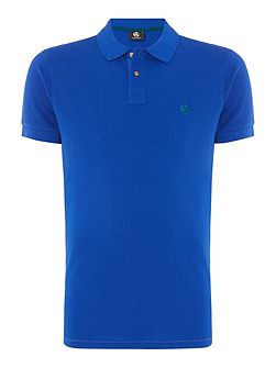 Slim fit contrast logo polo