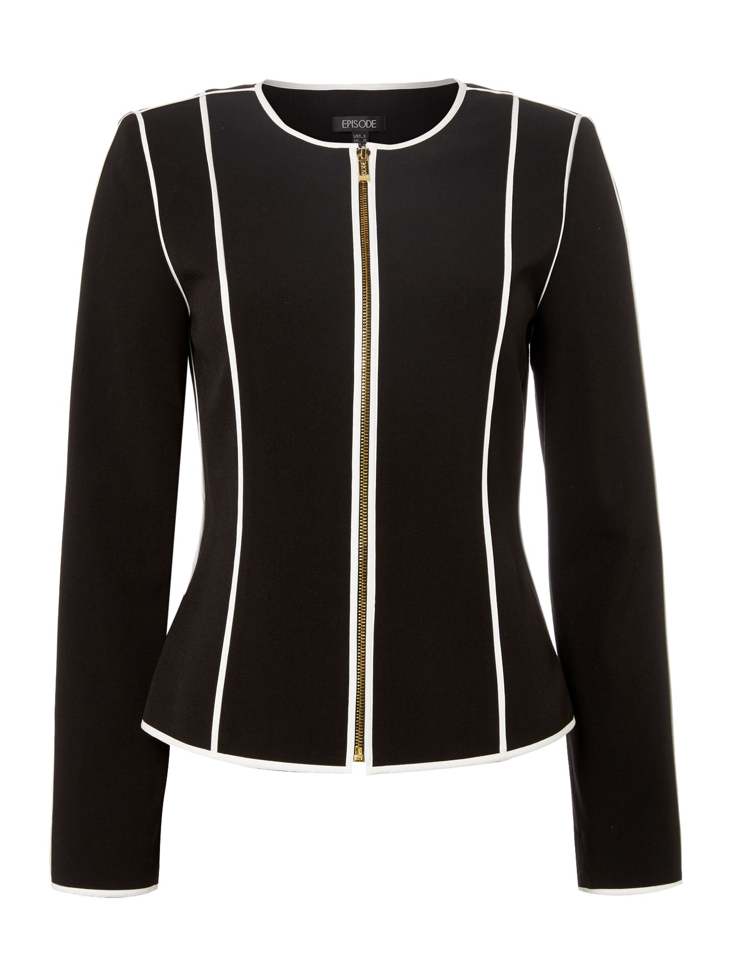 Episode Episode Jacket with contrast piping, Black