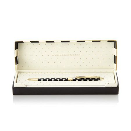Kate Spade New York Black polka Dot Boxed Ballpoint Pen