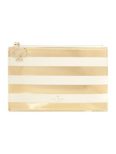 Kate Spade New York Gold stripe pencil pouch