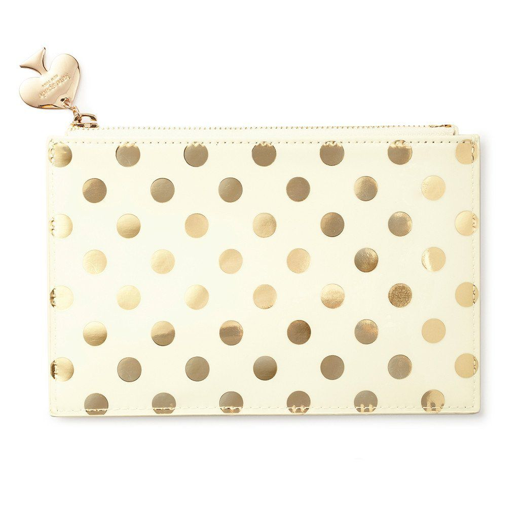 Image of Kate Spade New York Gold dots Pencil Pouch, Gold