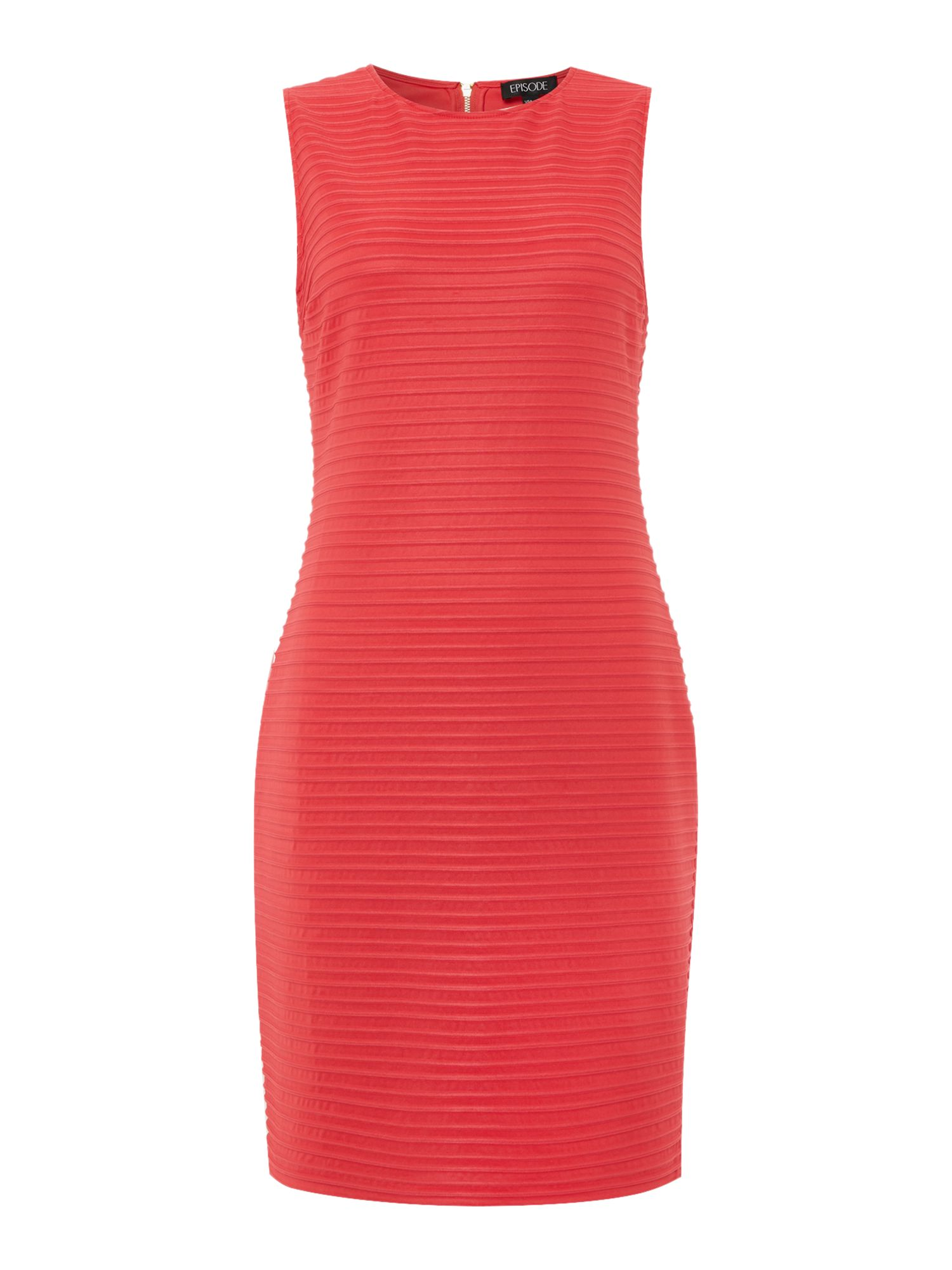 Episode Episode Sleeveless bodycon dress with organza stripe, Watermelon