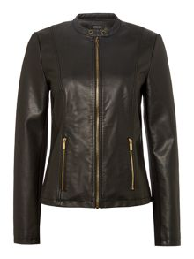Episode PU leather jacket with gold zipper