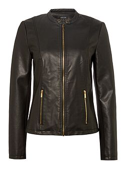 PU leather jacket with gold zipper