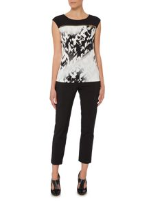 Episode Sleeveless printed tee with zip detail