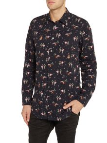 PS By Paul Smith Tailored fit dancing people printed shirt