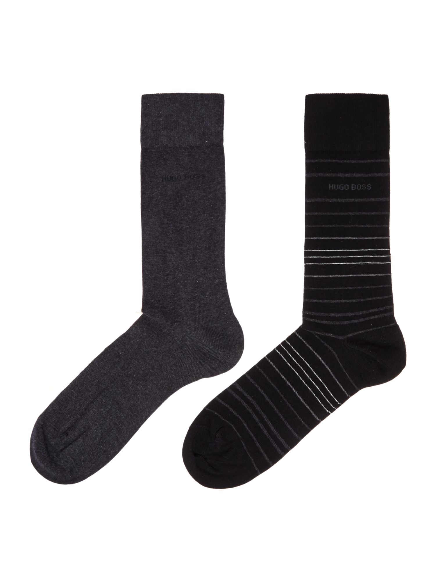 Mens Hugo Boss 2 Pack Stripe and Plain Socks Black