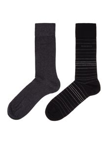 Hugo Boss 2 Pack Stripe and Plain Socks