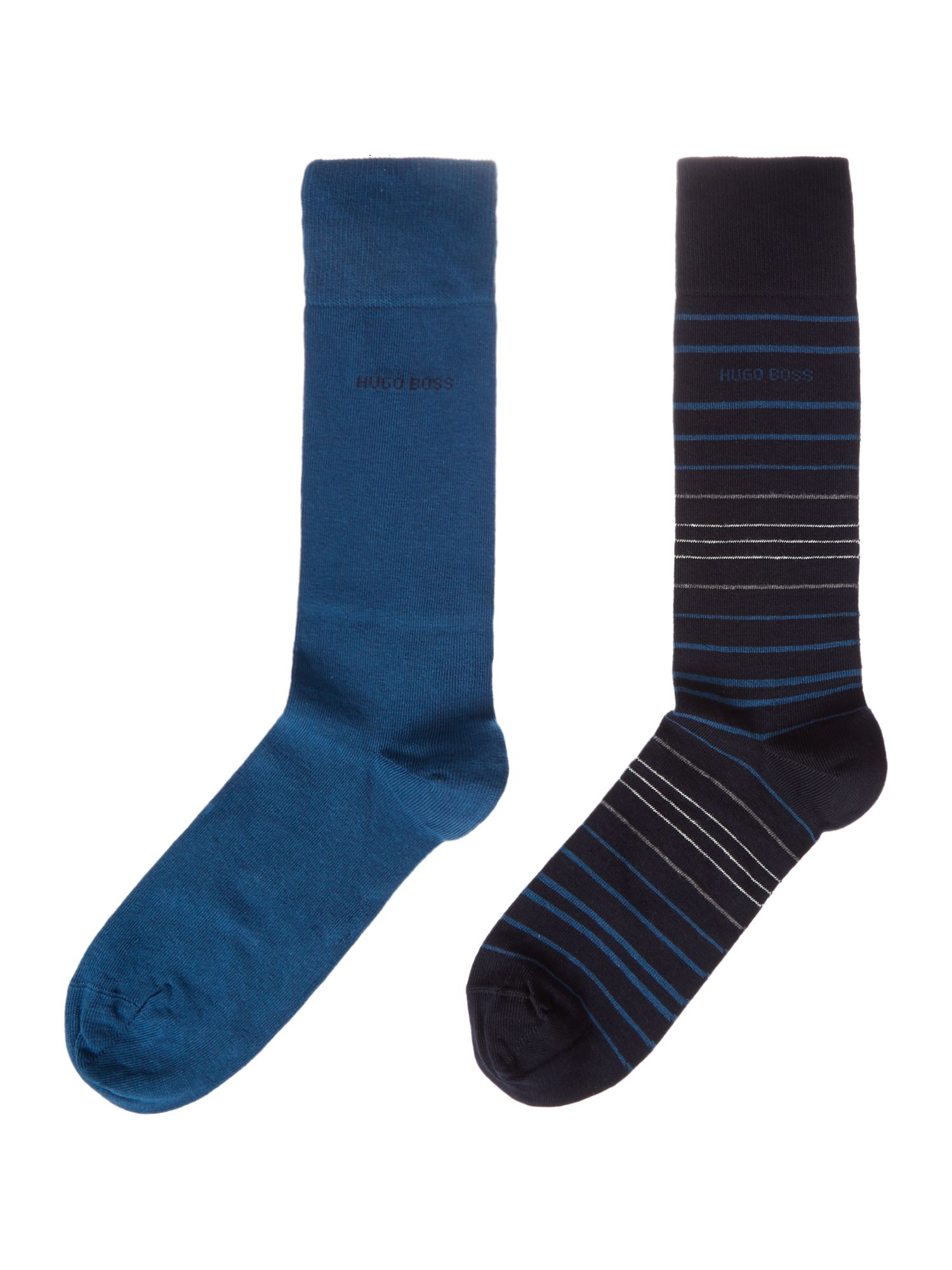 Mens Hugo Boss 2 Pack Stripe and Plain Socks Navy