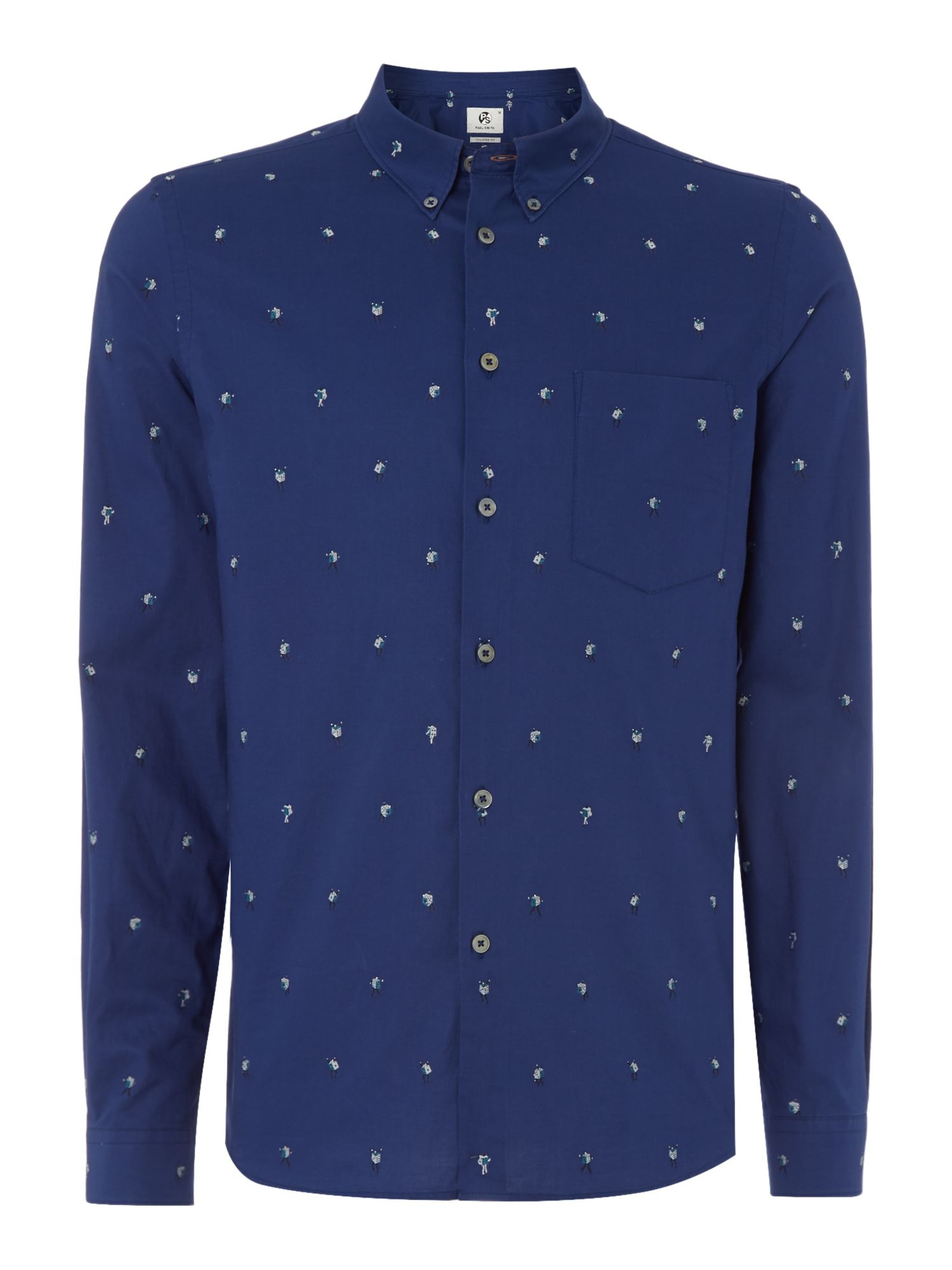 PS by Paul Smith Men's PS By Paul Smith Tailored fit dice men printed shirt, Navy