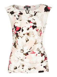 Episode Sleeveless floral jersey top with gold hardwear