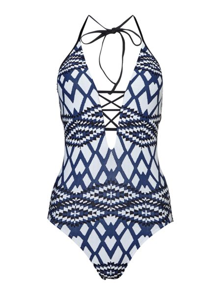 Seafolly Modern tribe deep V maillot swimsuit