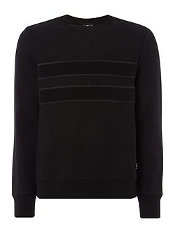 Boucle front stripe sweat top