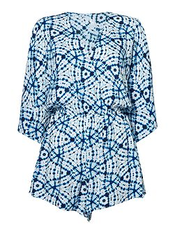Bahama blue shibori cover up playsuit