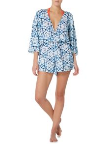 Seafolly Bahama blue shibori cover up playsuit