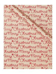 Linea Red glitter Merry Christmas 2m wrapping paper