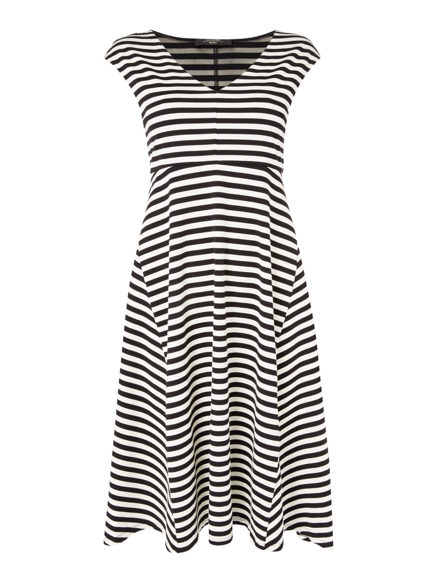 Max Mara Weekend VALDESE sleeveless striped fit and flare dress, Black