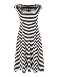 Max Mara VALDESE sleeveless striped fit and flare dress