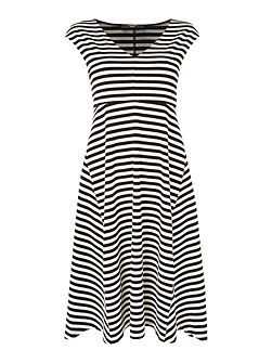VALDESE sleeveless striped fit and flare dress