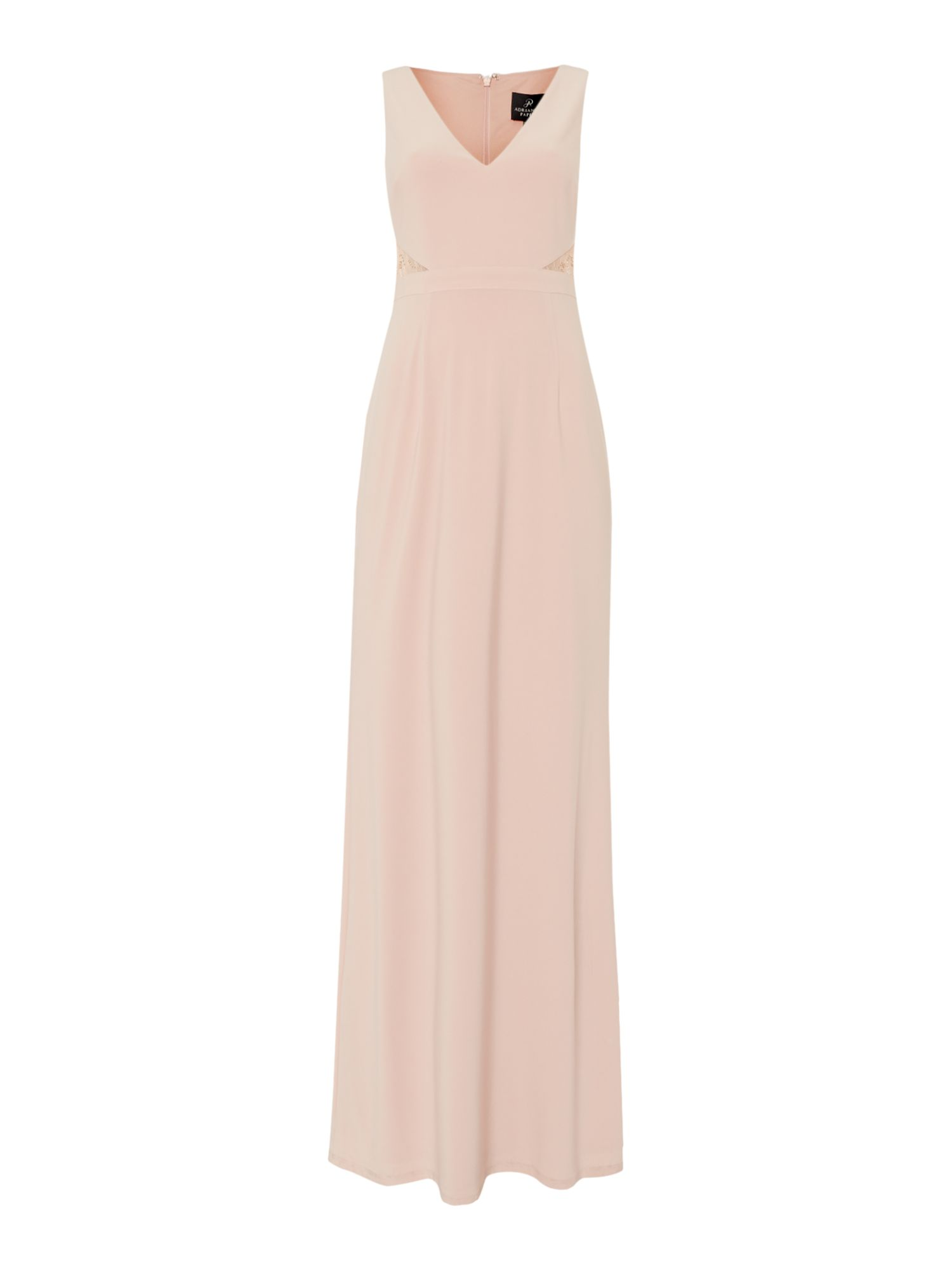 Adrianna Papell Sleeveless gown with lace inserts, Pink