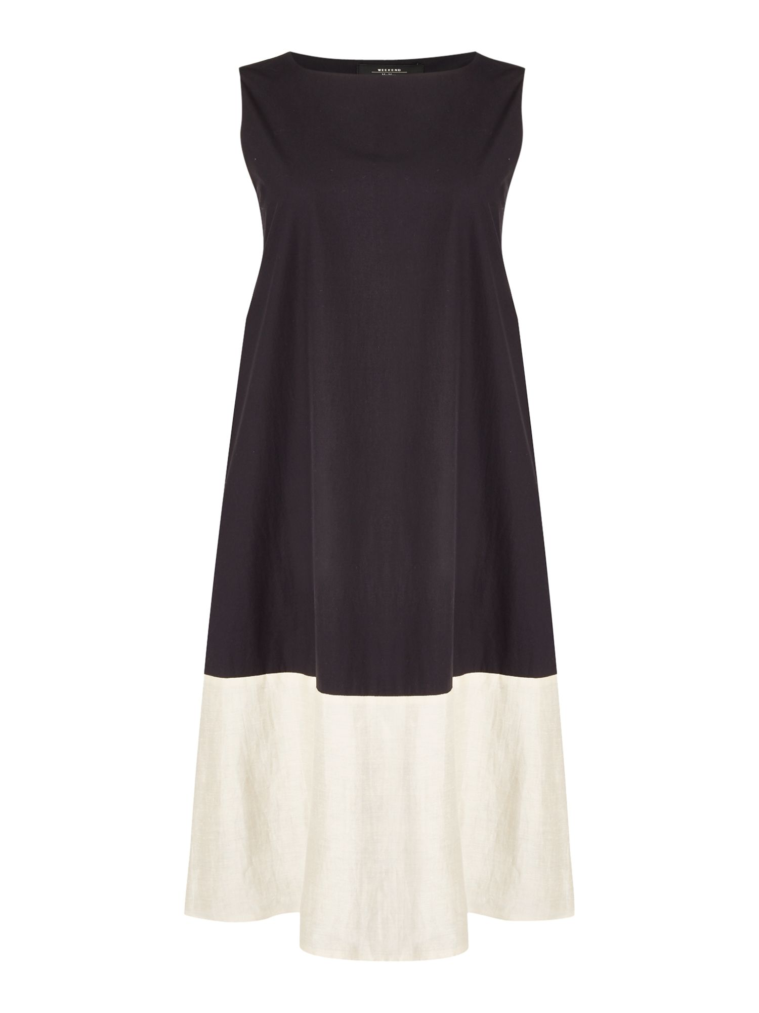 Max Mara Weekend TEMIDE Sleeveless colour block hem shift dress, Black