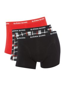 Bjorn Borg 3 Pack of Contrast Check and Plain Trunks