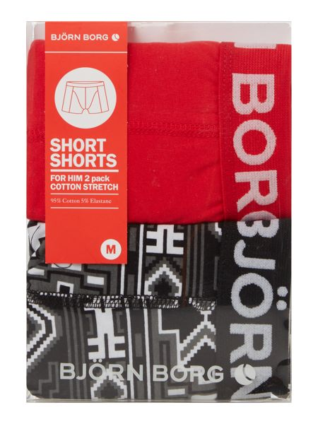 Bjorn Borg 2 Pack of Native Print and Plain Trunks