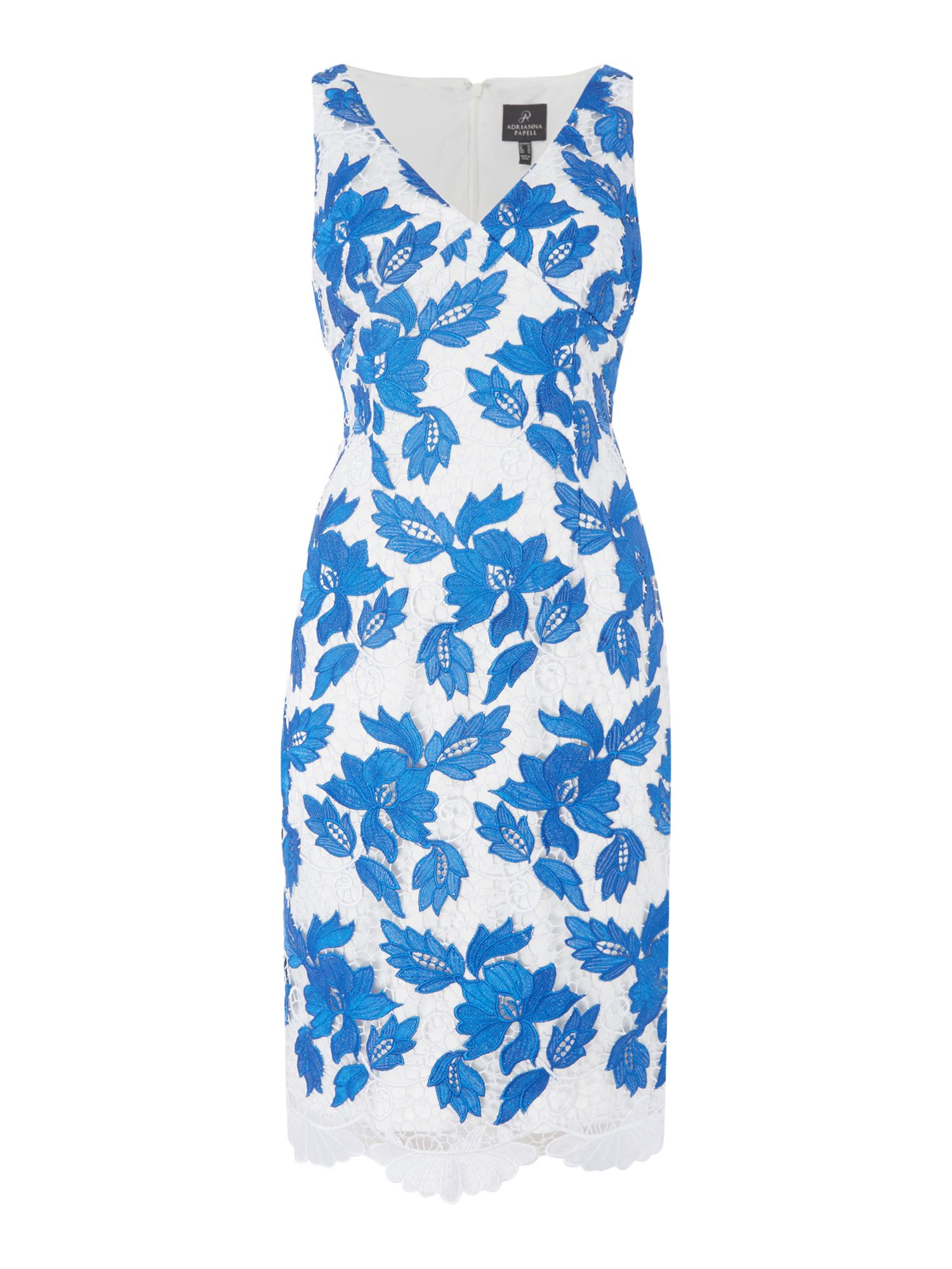 Adrianna Papell Sleeveless embroidered shift dress, Sapphire & White