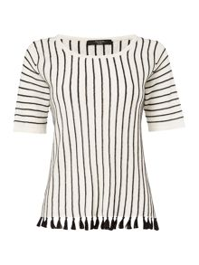 Max Mara BELGICA knitted striped top with tassel hem