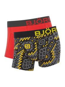 Bjorn Borg 2 Pack of Nordic Print and Plain Trunks