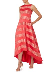 Adrianna Papell Striped lace ballgown