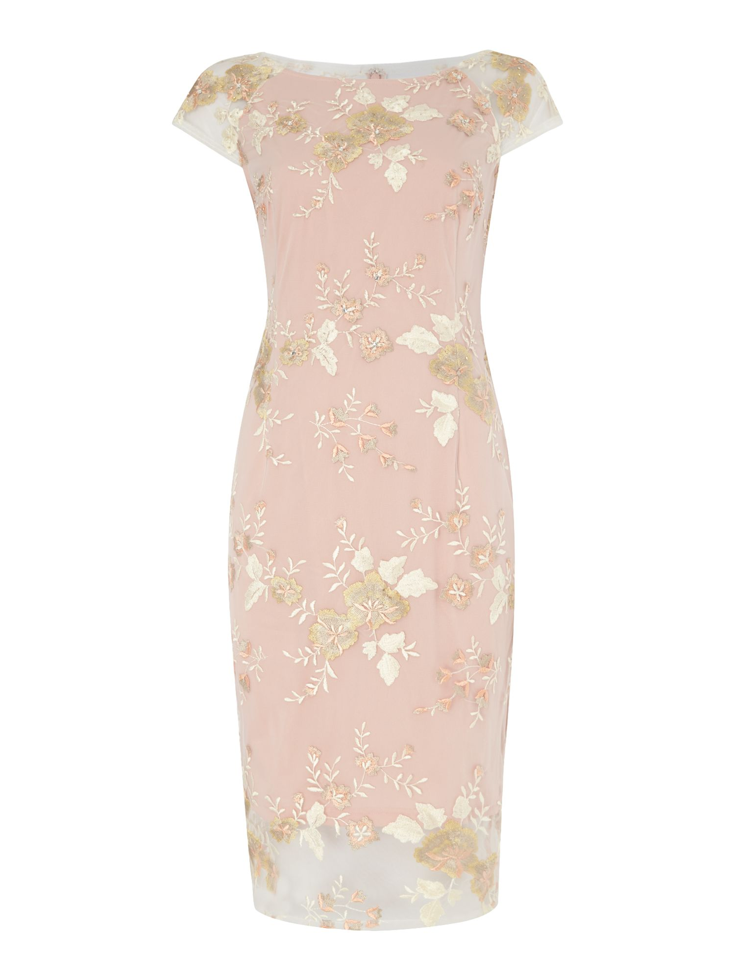Adrianna Papell Mid length bodycon dress with cap sleeves, Light Pink