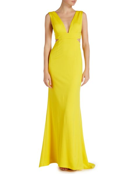Adrianna Papell V neck gown with cut outs