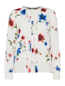 Ellen Tracy Sleeveless floral blouse with piping