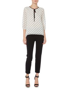 Ellen Tracy 3/4 length sleep round neck textured top