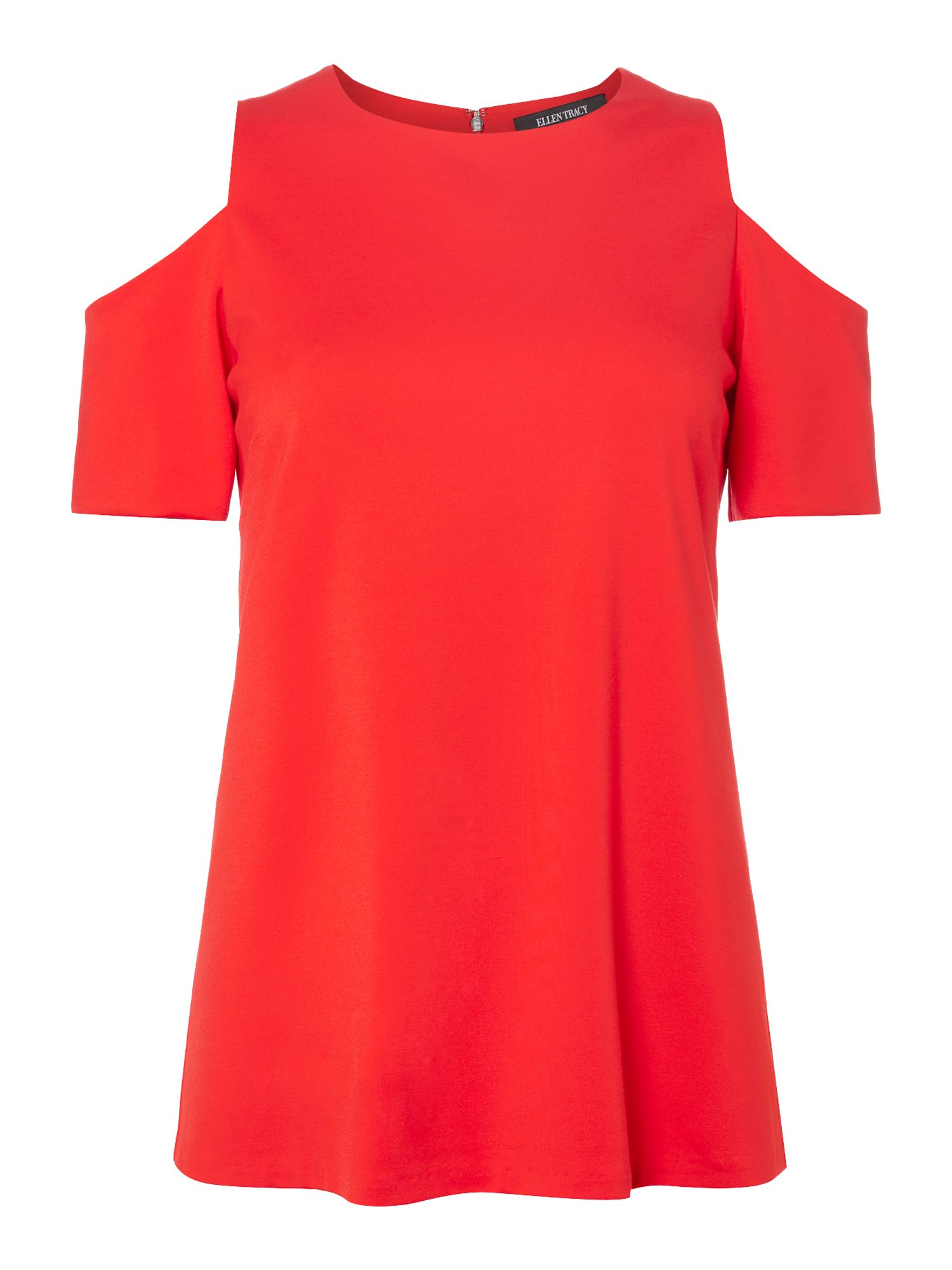 Ellen Tracy Cold shoulder top, Red