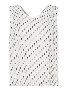 Ellen Tracy Sleeveless textured chiffon top