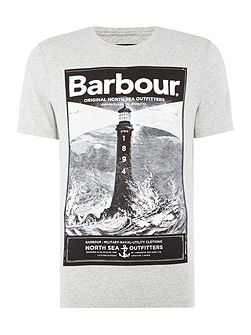 Large lighthouse print short sleeve t-shirt