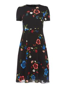 Ellen Tracy Floral printed tea dress with flounce hem