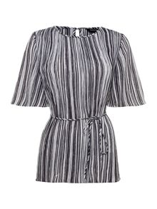 Ellen Tracy Pleated stripe top
