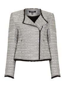 Ellen Tracy Tweed jacket with fringing detail