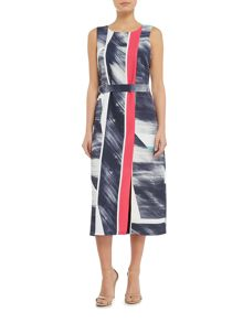 Ellen Tracy Abstract printed shift dress with belt
