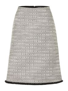 Ellen Tracy A-line tweed skirt with fringed hem