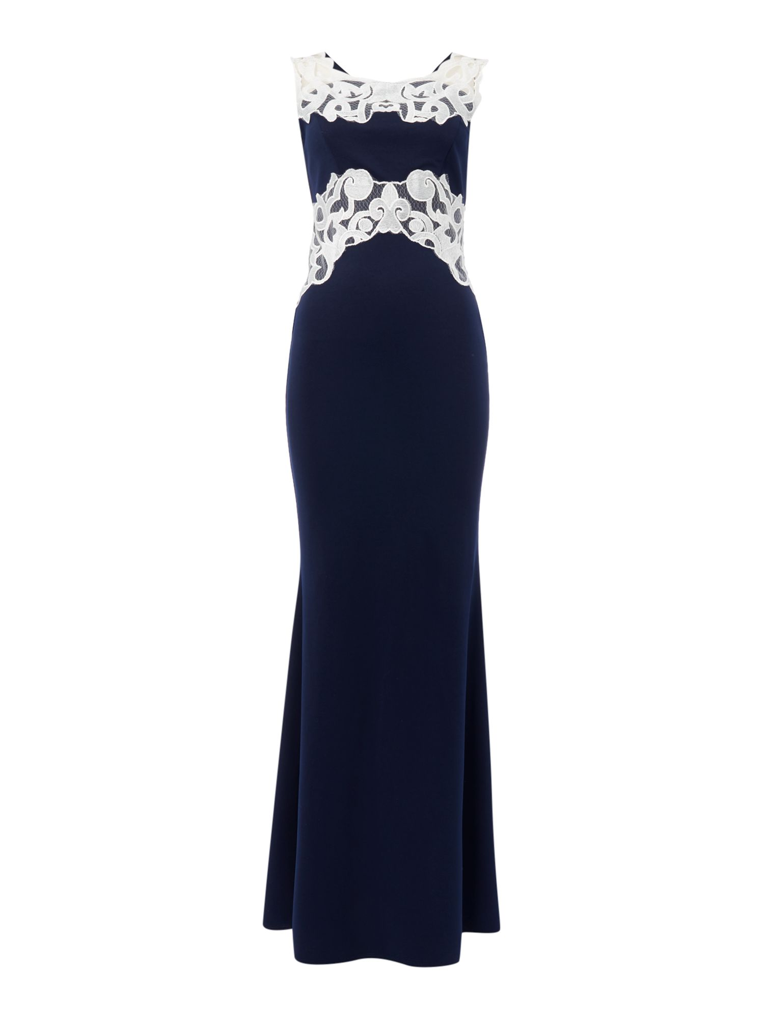 Jessica Wright Sleeveless Contrast Applique Maxi Dress, Blue