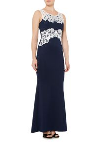 Jessica Wright Sleeveless Contrast Applique Maxi Dress