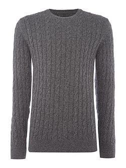Wool cotton cable jumper