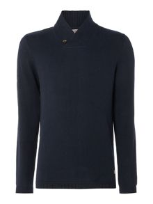 Jack & Jones Shawl-Neck Knitted Cotton Jumper