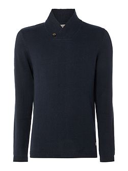 Shawl-Neck Knitted Cotton Jumper