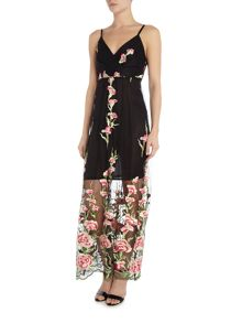 Jessica Wright Sleeveless Embroided Overlay Maxi dress