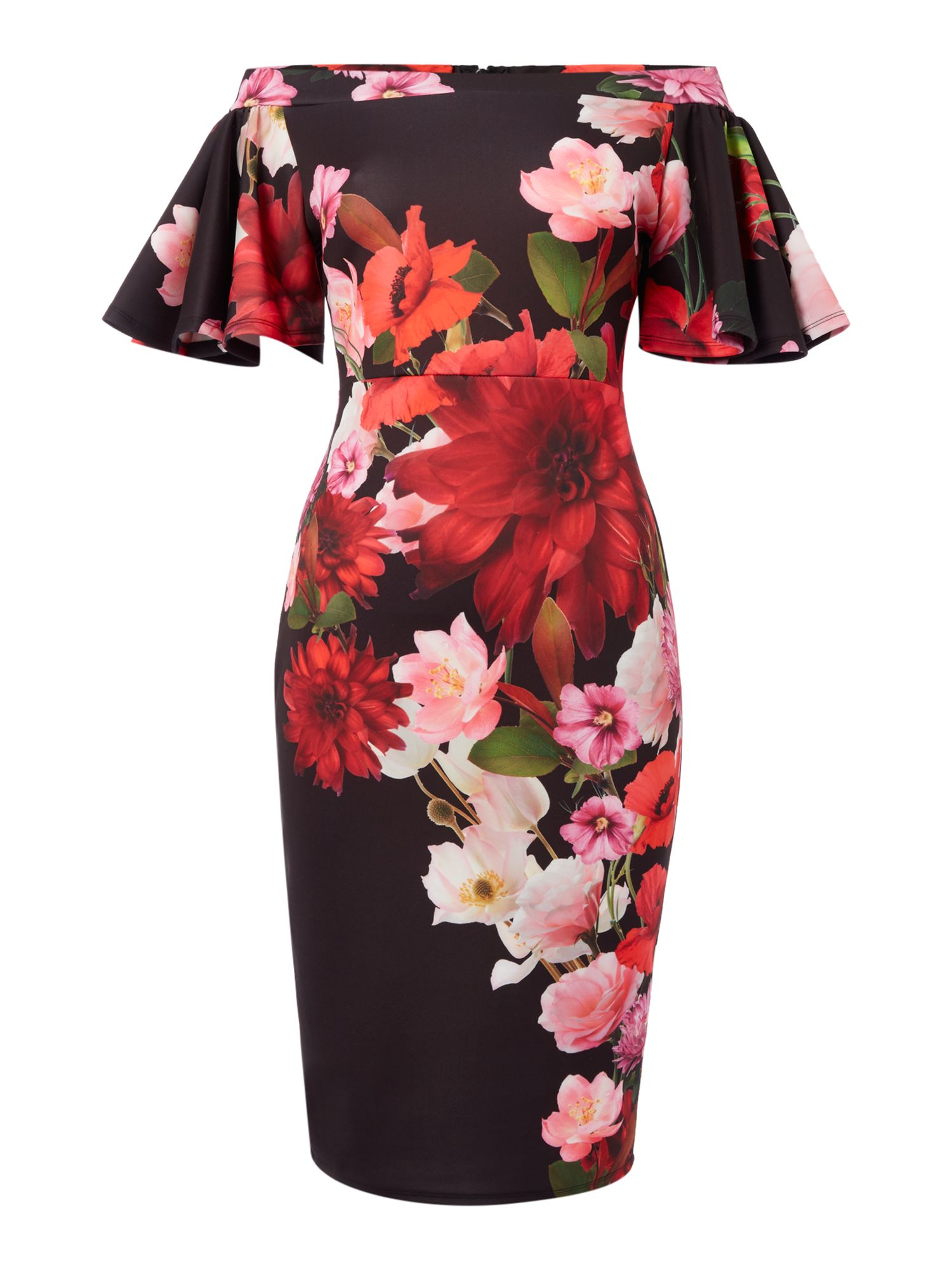 Jessica Wright Bardot Frill Sleeveless Floral Bodycon dress, Black